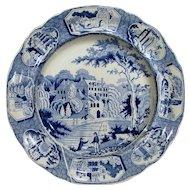 Staffordshire Transfer ware Plate English Country Scene Manor House Cows Fishermen Circa 1830