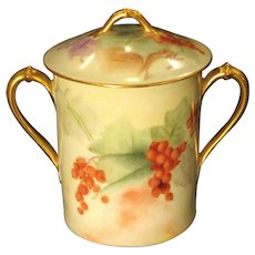 Hand Painted Condensed Milk Container Currents Gold Circa 1900 Signed
