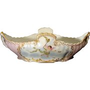 Limoges Center Piece Bowl Hand Painted Cherub with Butterflies Artist Signed