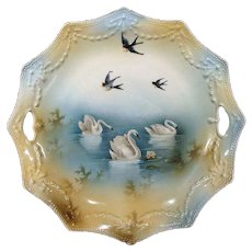 RS Prussia Swans on Lake and Blue Birds Cake Plate