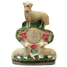 Scarce Staffordshire Three Sheep Clock Figure