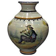 Hand Painted 1930's Henriot Quimper Decor Riche Vase
