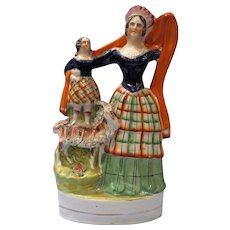 1860's Staffordshire Figure of Queen Victoria with Royal Child and Goat