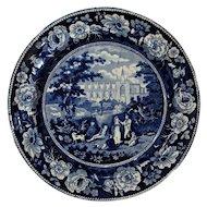Historical Dark Blue Staffordshire Transfer Ware Plate Batalha Portugal Circa 1825