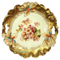 RS Prussia Art Nouveau Iris Variation Mold Cake Plate  Roses and Gold