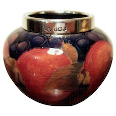 Vintage Moorcroft Pottery Pomegranate Vase with Sterling Silver Rim