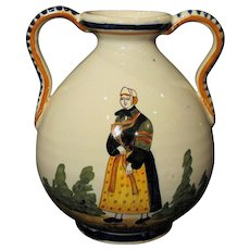 Vintage Hand Painted French Henriot Quimper Faience Vase
