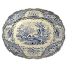Blue Historical Staffordshire Transferware Platter Columbus Adams