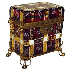 Antique Bohemian Moser Ruby Glass Casket Box Gold and Enamel