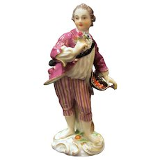 Antique Meissen Figurine, Barefoot Boy With Flower Bouquet and Hat