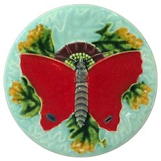 Gorgeous Majolica Leaf and Butterfly Plate Mint condition Circa 1900