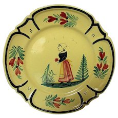 Vintage Hand Painted Yellow French Quimper Faience Plate