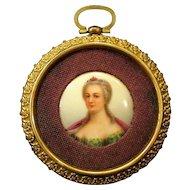 Antique Hand Painted Miniature Portrait on Porcelain in Gilt Fleur-de-Lis Frame
