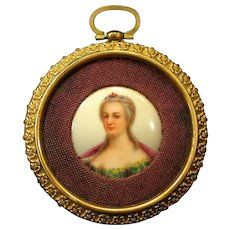 Antique Hand Painted Miniature Portrait on Porcelain in Gilt Fleur-de-Lis Frame