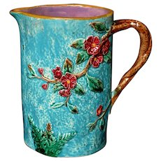 Antique Majolica Wild Roses and Fern Pitcher Jug