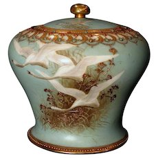 Scarce Nippon Flying Swans Biscuit Cracker Jar