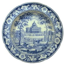 Historical Staffordshire Boston State House Plate with Cows Rogers Circa 1825