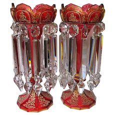 Gorgeous  Pair of 19th. Century Bohemian Cranberry Glass and Gold Lustres Lusters