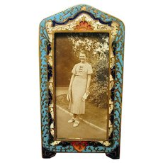 Antique French Champleve Enamel and Bronze Picture Frame