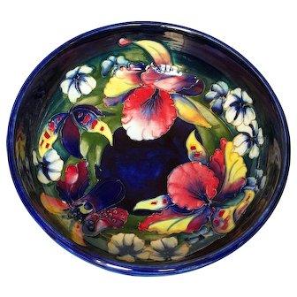 Large Vintage Moorcroft Pottery Cobalt Blue Orchid Bowl