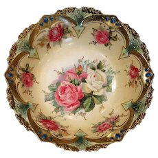 Jeweled RS Prussia Roses and Gold Bowl