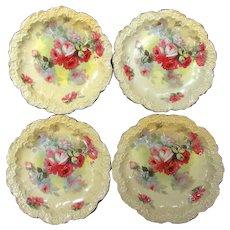 Set of 4 Antique Limoges Plates Gorgeous Roses Artist Signed