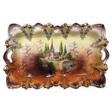 RS Prussia Castle Scene Open Handle Dresser Tray