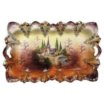 RS Prussia Castle Scene Open Handle Dresser Tray