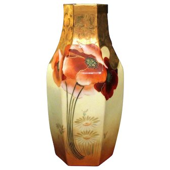 Hand Painted Bavaria and Osborne Studio Vase Poppies and Daisies Signed