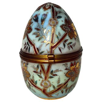 Antique Opal Glass Egg Shaped Trinket Box Hand Painted Raised Enamel and Gold