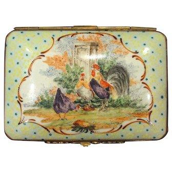 Antique Dresden Carl Thieme Dresser Trinket Box Hand Painted Rooster Chickens