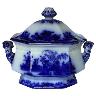 Scarce Large Scinde Flow Blue Soup Tureen with Cover Pristine Condition