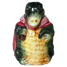 Scarce Austrian Majolica Humidor Alligator with Pipe and Red Cape