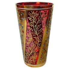 Bohemian Moser Cranberry Glass Enamel and Gold Tumbler