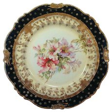 Floral RS Prussia Cabinet Plate Cobalt Blue and Gold