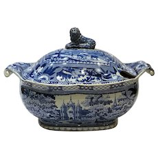 Rare Staffordshire Blue and White Transfer Ware Soup Tureen Angus Seats by Ridgway