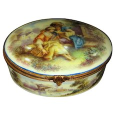 Hand Painted Limoges  Jewelry Dresser Box Couple with Bird Landscapes Signed