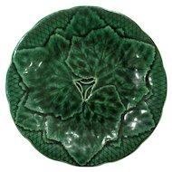 Antique French Gien Green Majolica Leaf Plate