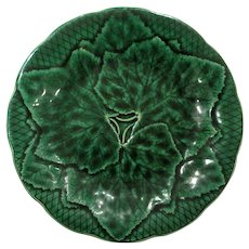 Antique French Gien Green Majolica Leaf Plate