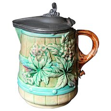 Antique Majolica Syrup Pitcher Jug Barrel with Flowers