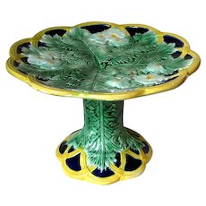 Excellent Antique Fern and Dogwood Blossoms Majolica Cake Stand Comport