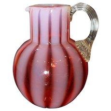 Phoenix Glass Cranberry Opalescent Wide Stripe Water Pitcher