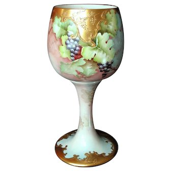 1905 Willets Belleek Chalice Vase Hand Painted Grapes Raised Gold Signed