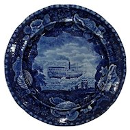 Historical Staffordshire Plate Chief Justice Marshall Troy Steam Boat Shell Border