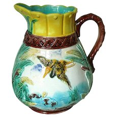 Antique English Majolica Heron, Leaf and Lily Pad Pitcher