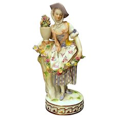 Meissen Figurine Lady with Rose Garland and Floral Urn