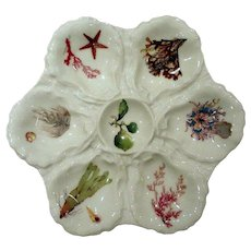 Haviland Limoges Oyster Plate with Hand Painted Sealife