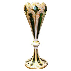 Tall Antique Bohemian Green Art Glass and Gold Overlay Vase Circa 1880