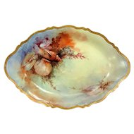 Antique Austria Fish Platter Hand Painted Sea Shells and Gold Artist Signed