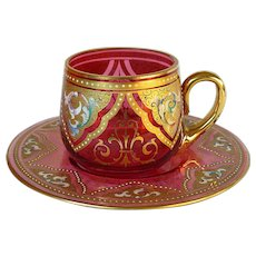 Circa 1880 Bohemian Moser Cranberry Glass Demitasse Cup & Saucer with Enamel